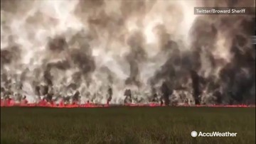 Wall of flames spreads through Florida Everglades