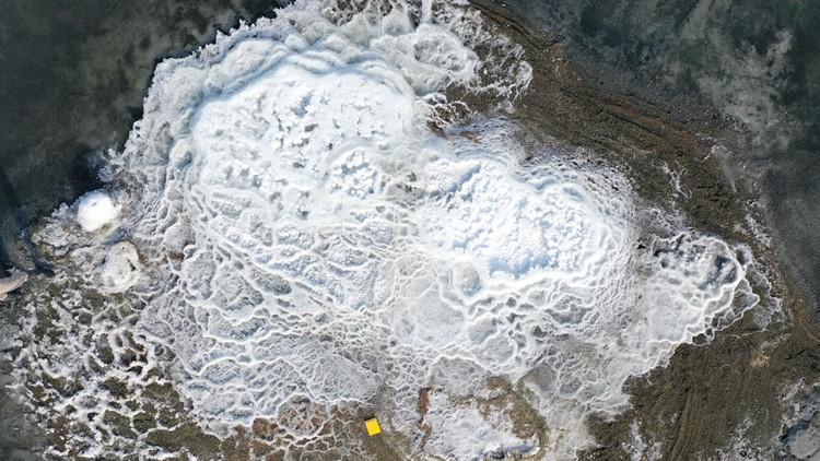 Otherworldly Mineral Mounds Pop Up on Utah Shoreline