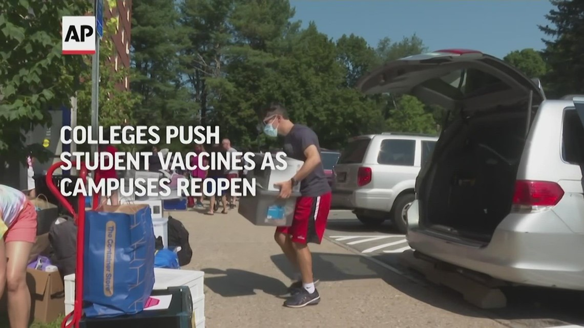 Colleges push student vaccines as campuses reopen