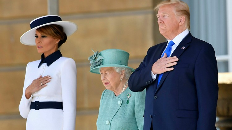 Britain Trump and Melania with the Queen