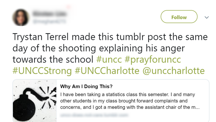 Claim about UNCC Shooter blog post