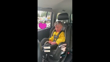 Harper Foy, model with skin condition, sings in the car