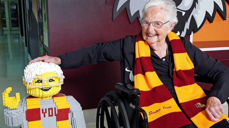 Sister Jean celebrates 100th birthday by meeting her LEGO look-alike