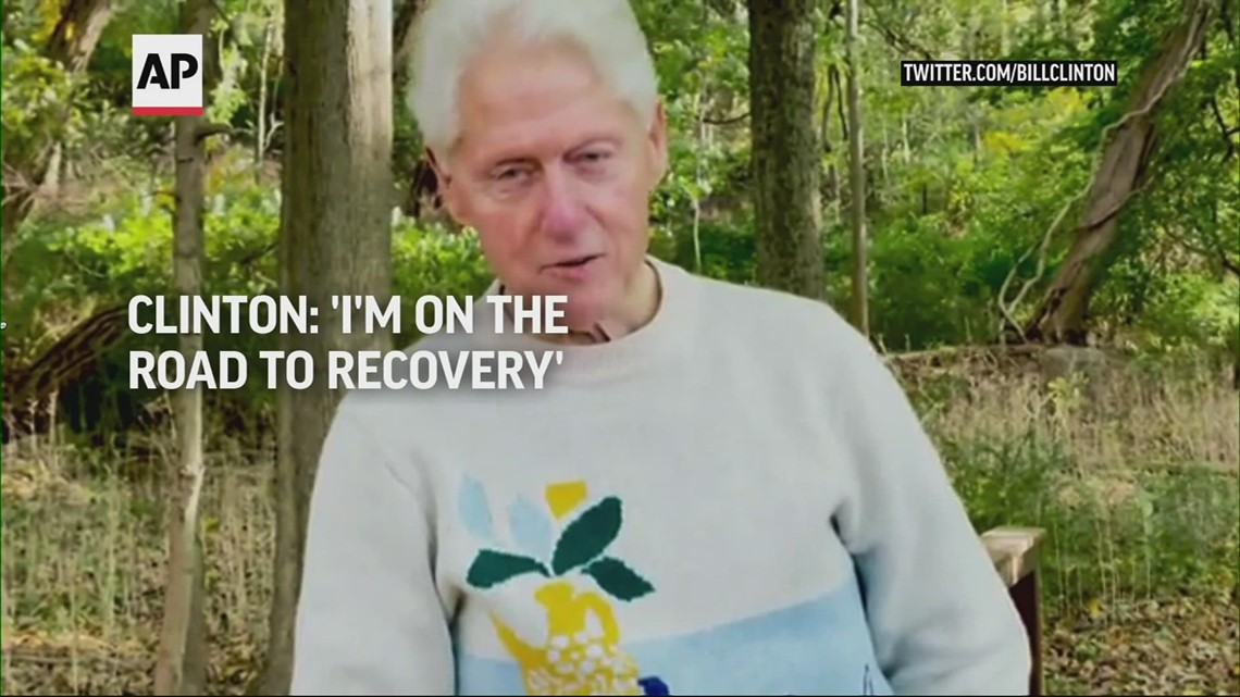 Bill Clinton says he's 'on the road to recovery' after hospitalization