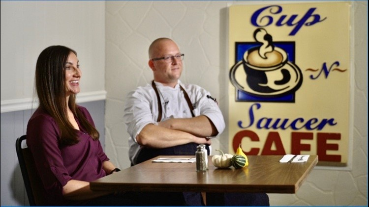 Elizabeth and Seth Lintelman, owners of the Cup N' Saucer Cafe
