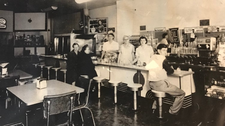 Workers and customers at the Cup N' Saucer in its early days