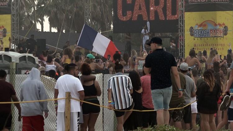 Cardi B performing at Rockstar Beach during Beach Bash
