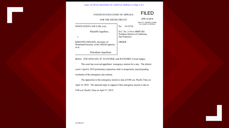 9th Circuit Court of Appeals grants the Justice Department emergency motion for a stay.