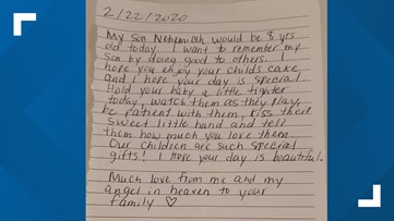 Stranger buys child's birthday cake and leaves emotional note behind