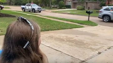 Neighborhood throws drive-by birthday party for little girls