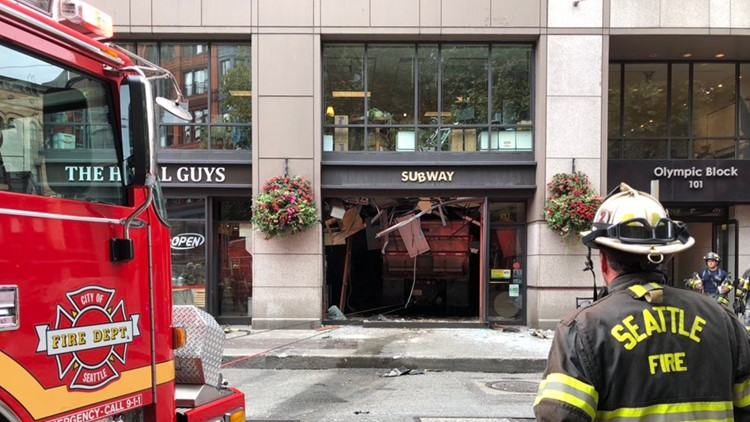 4 Hurt When Dump Truck Crashes into Subway Shop in Seattle