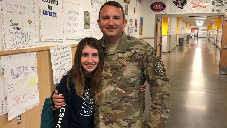 7's hero soldier surprises his kids at school