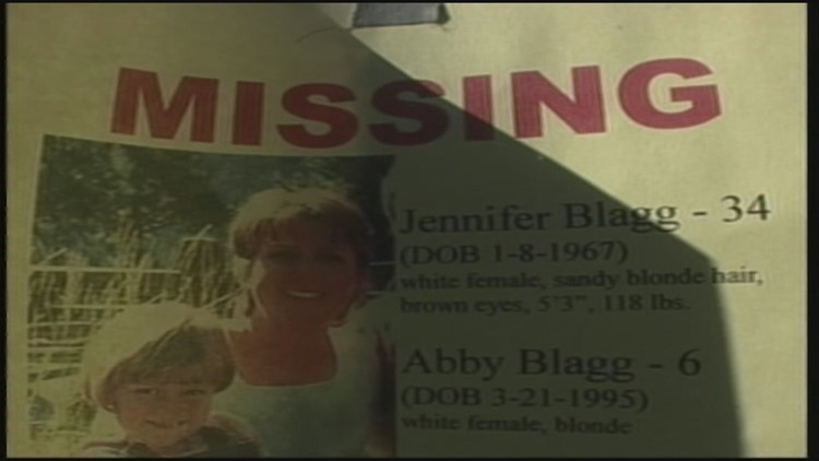 A missing persons flier for Jennifer and Abby Blagg.