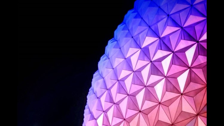 Epcot takes on a different hue at night. Photo credit: Dia Adams