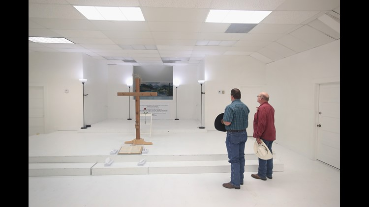 Visitors tour the First Baptist Church of Sutherland Springs after it was turned into a memorial to honor those who died on November 12, 2017 in Sutherland Springs, Texas.