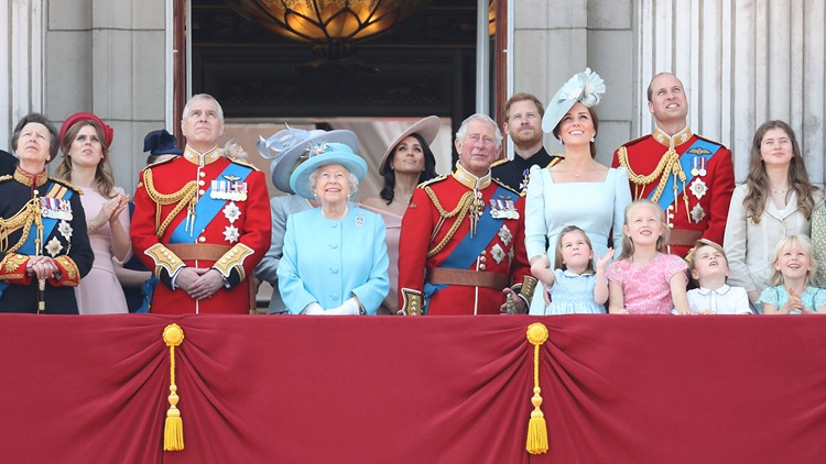 Members of the royal family watch the flypast on the balcony of Buckingham Palace during Trooping The Colour on June 9, 2018 in London, England.