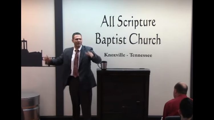 Grayson Fritts, a Knox County detective and pastor, shown in June 9 sermon.