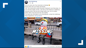 Have you seen this snowman? Gatlinburg PD searches for seasonal statue