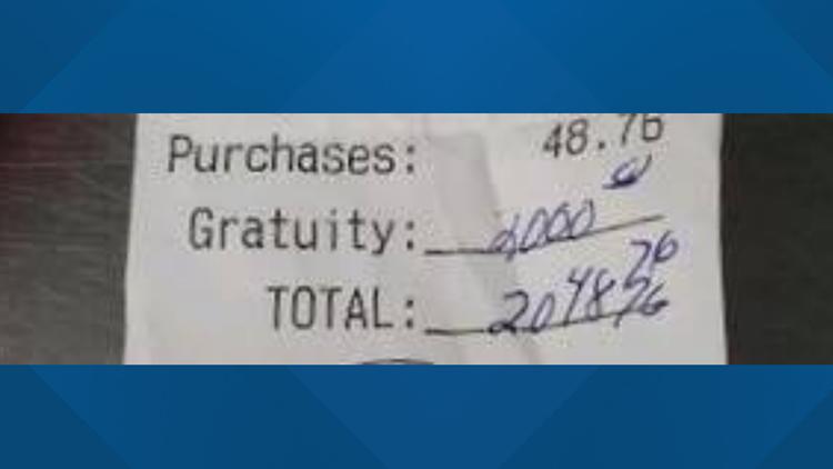 $2,000 Tip On $45 Bill Stuns Restaurant Staff