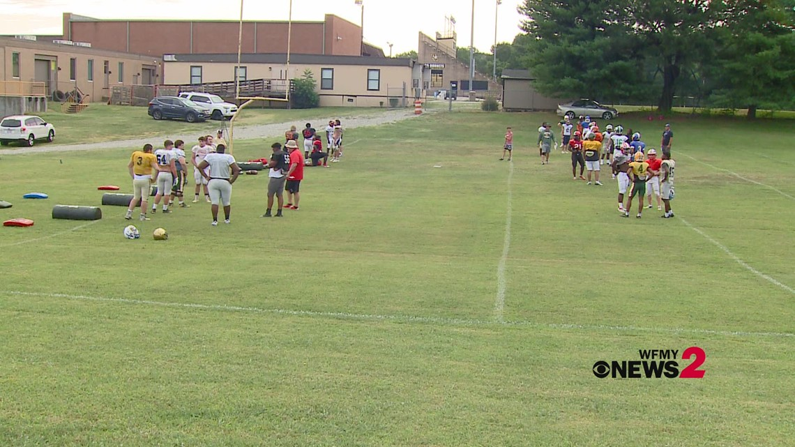 West Football Team on the field prepping for Wednesday's annual NCCA East-West All-Star Game