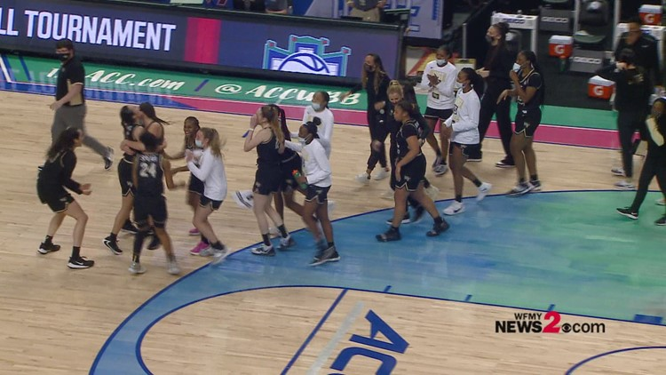 Wake Forest celebrates after beating North Carolina in ACC Women's Tournament