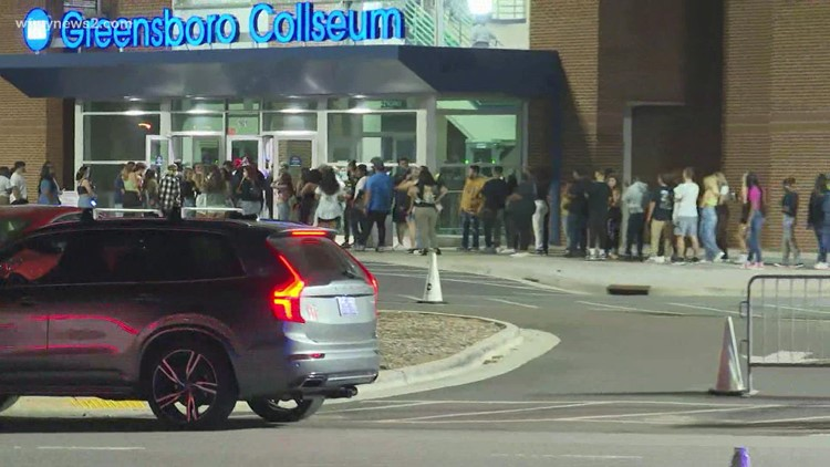 Large crowds wait hours for J. Cole concert to start in Greensboro