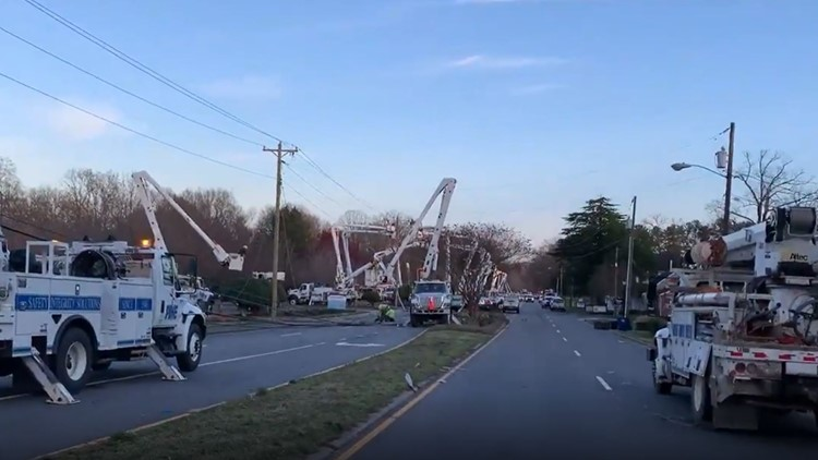 Winston-Salem road reopens after crash   takes out 7 utility poles along with power lines