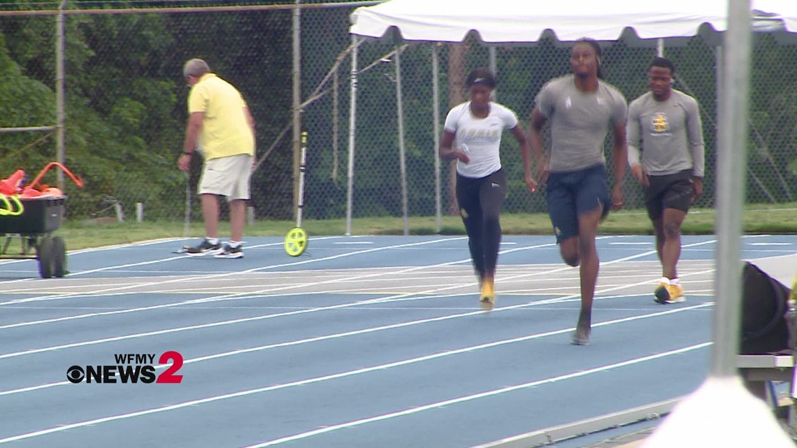 NC A&T's Randolph Ross Jr. on the track working out ahead of the Tokyo Olympics