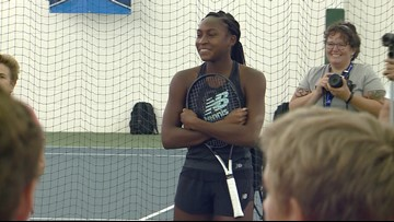 Coco Gauff Spending Time On The Court At Winston-Salem Open High School Kids Clinic