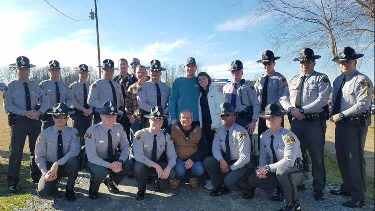 Trooper Daniel Harrell Receives a Hero's Welcome From Fellow Officers