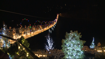 The Gatlinburg SkyBridge is all lit up for Christmas