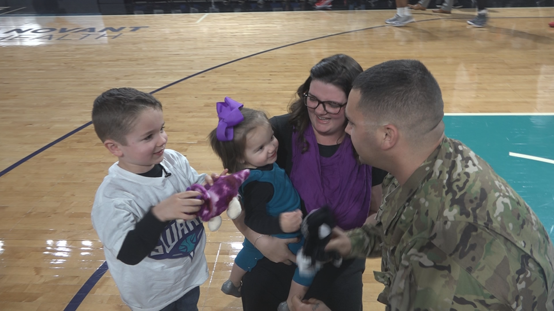 Soldier Surprises Family With Return During Greensboro Swarm Game