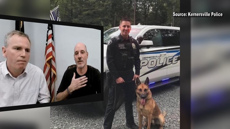 Kernersville Officer shot 3 times is communicating on a white board & shares his thanks to the community