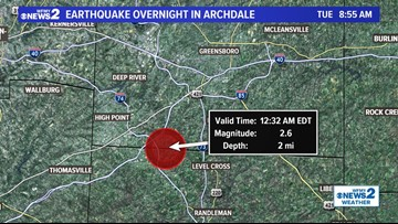 2.6 Magnitude Earthquake Hits Archdale, Rattles Guilford and Randolph Counties