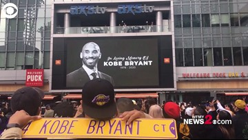 Fans chant Kobe outside Staples Center in Los Angeles