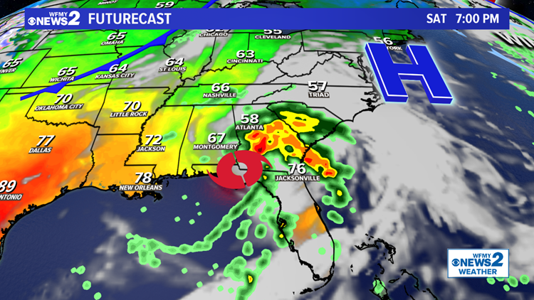 Tropical Rain Heading to the Piedmont This Weekend