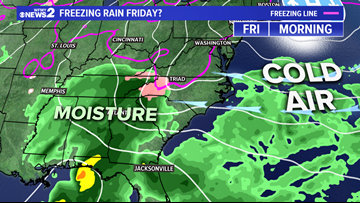 Glaze of ice possible Friday morning; then rain