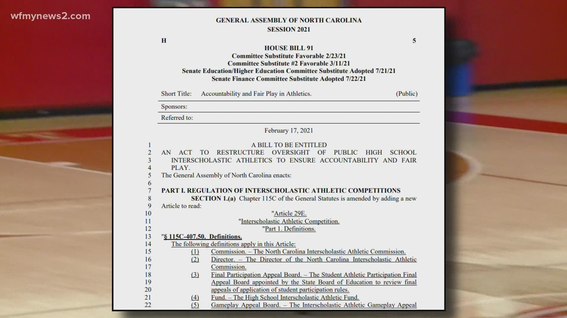 New bill proposes ending NCHSAA