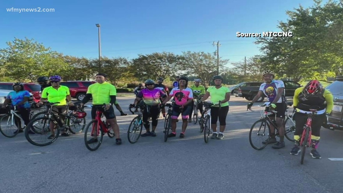 Group of cyclists pedal for a cause