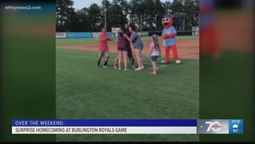 Game of Dizzy Bat Ends With A Soldier Homecoming Surprise At The Burlington Royals Game