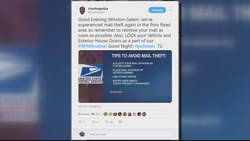 Mail Stolen Right Out Of Your Mailbox: Winston-Salem Police