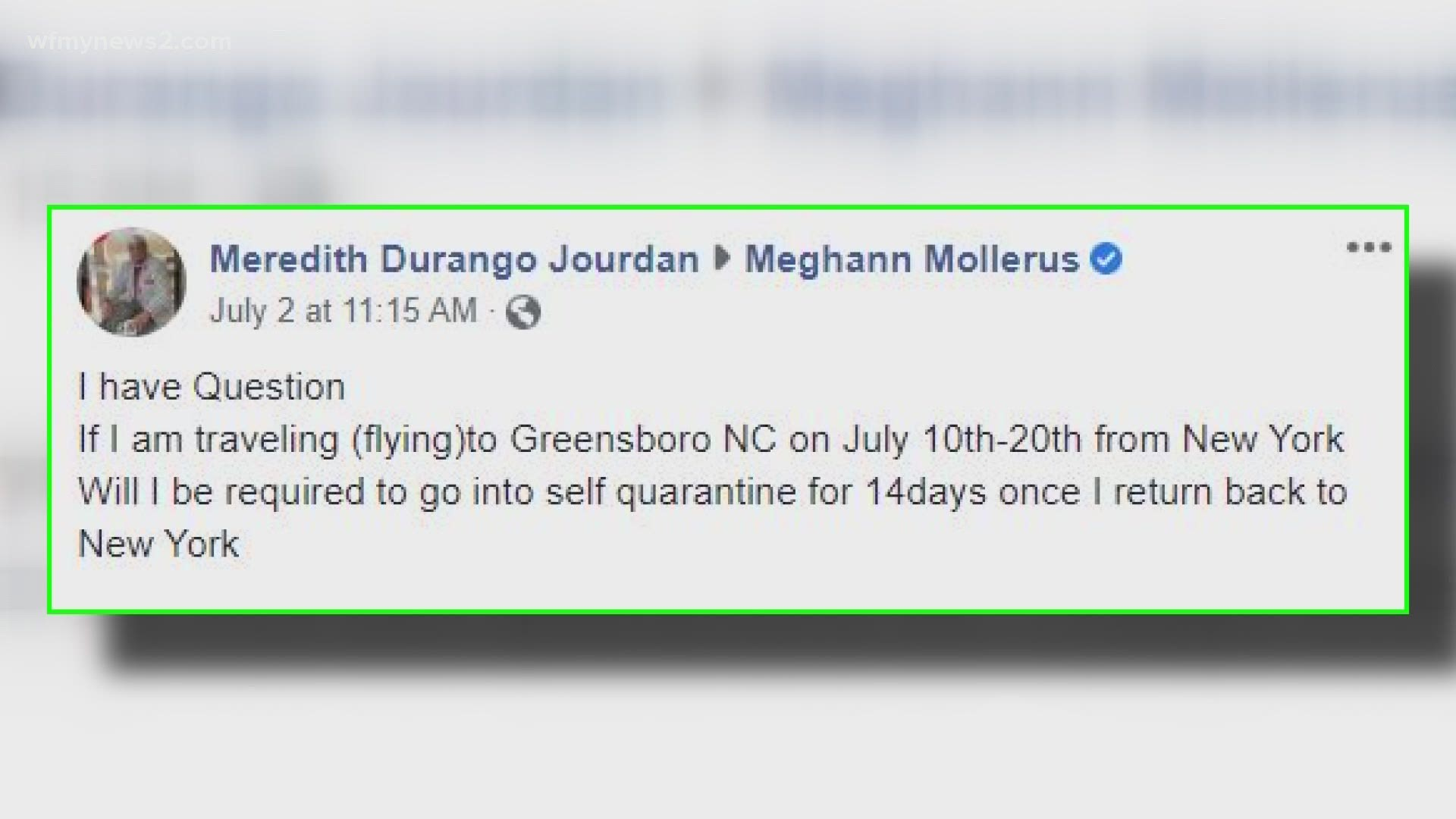 No Travel Quarantine In Nc But Elsewhere Do Your Research Wfmynews2 Com