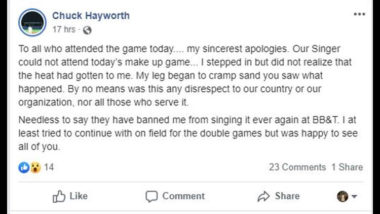 Chuck Hayworth's fb post