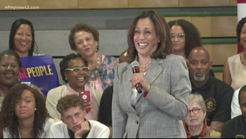 Presidential Candidate Kamala Harris Campaigns In Greensboro