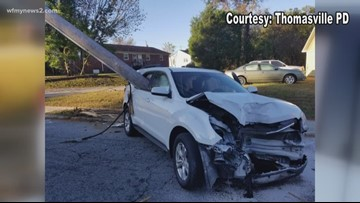Pole Impales Car After Mom Drops Child off at School