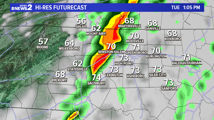 Heads Up: A Few Strong or Severe Thunderstorms Possible Midday Tuesday