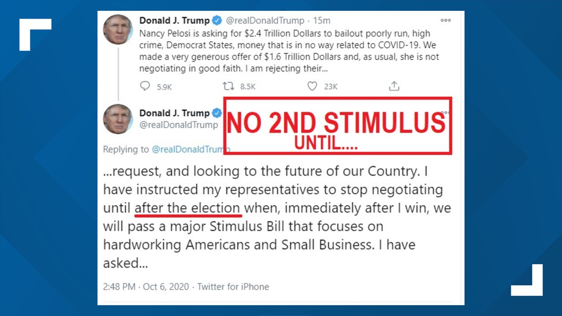 President Trump Says No To A Second Stimulus Until After Election Wfmynews2 Com