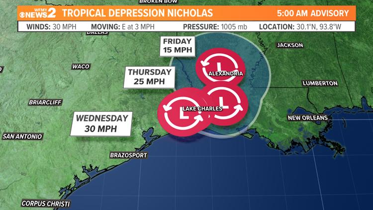 Nicholas expected to hang over Louisiana through Friday