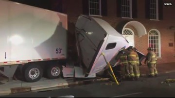 Tractor-Trailer Crashes Into Winston-Salem Building