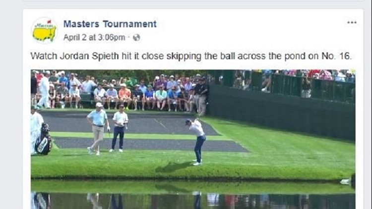 Jordan Spieth hit a ball that skipped across the pond without dropping in--much like when you through a rock across water.